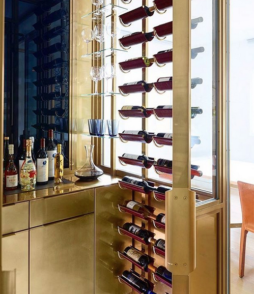 Brass room wine storage by Amuneal