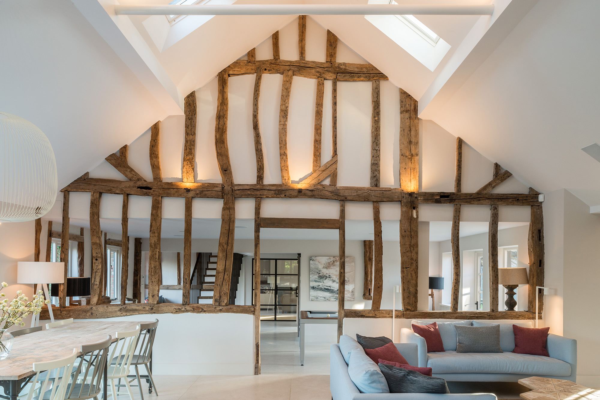 In this historic scheme, stunning original beams take centre stage. Image: Gresford Architects