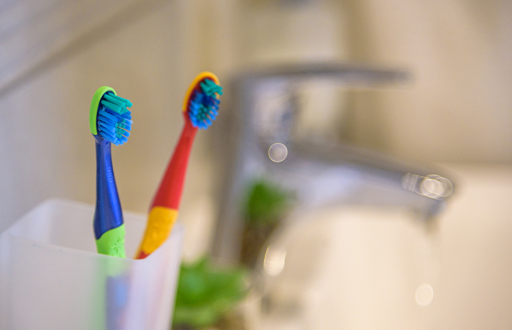 Toothbrush holders can harbour a whole host of germs. Image: Pavel Kobysh/Shutterstock