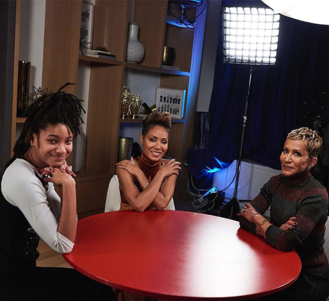 Their vodcast Red Table Talk is hosted in their house. Image: Instagram/@jadapinkettsmith