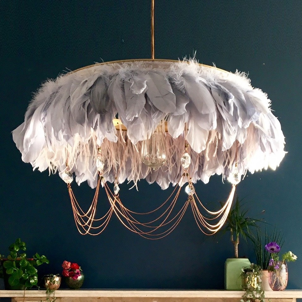 Edith goose feather chandelier