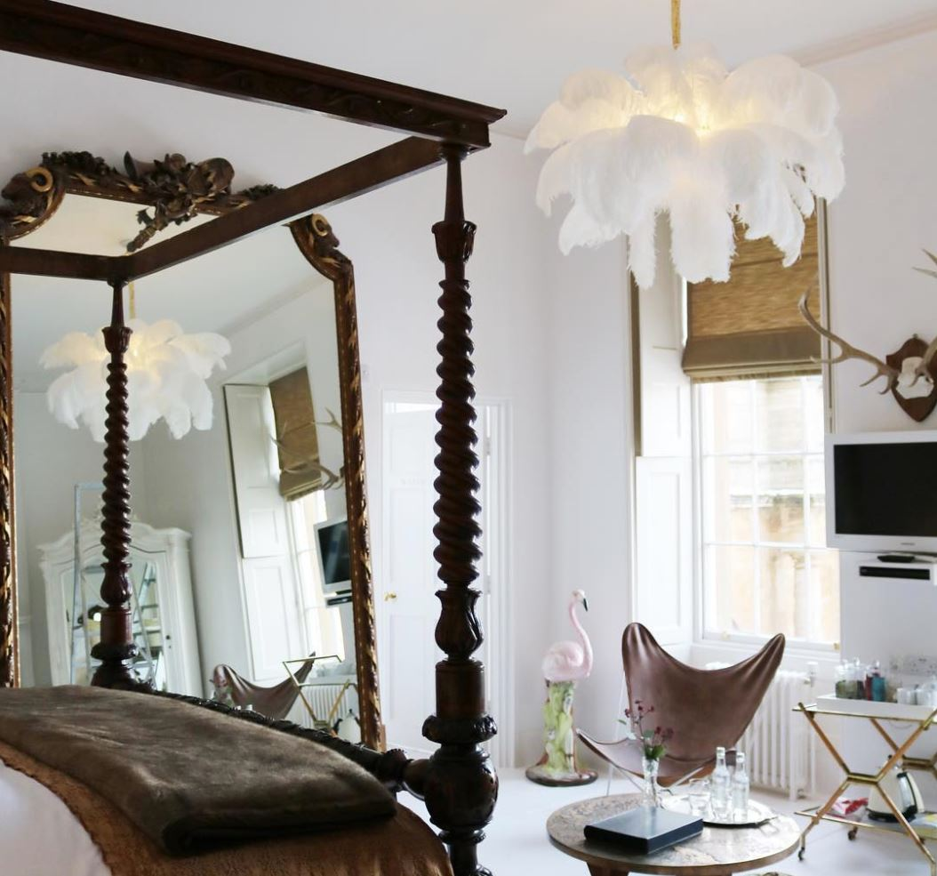 Feather chandelier by A Modern Grand Tour