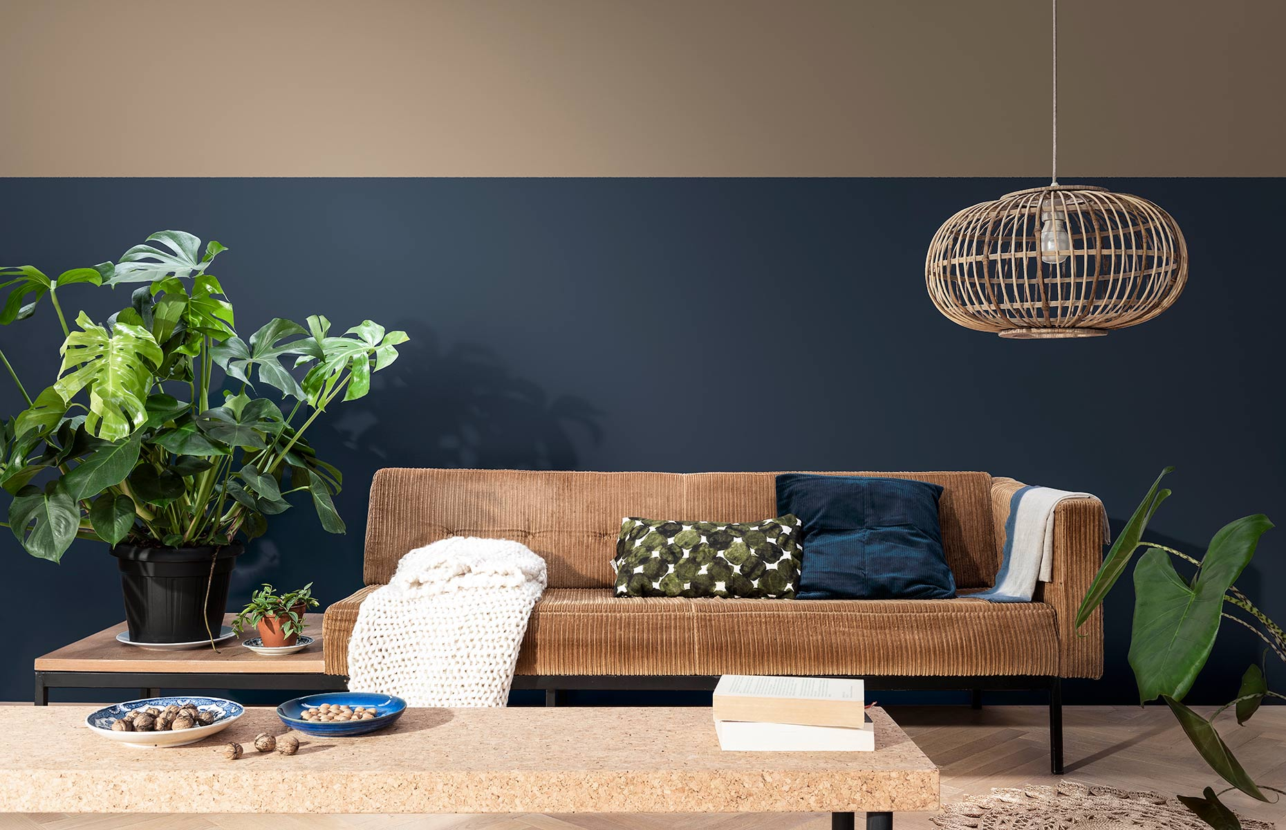 Brave Ground works with on-trend dark blues in this cosy living room.