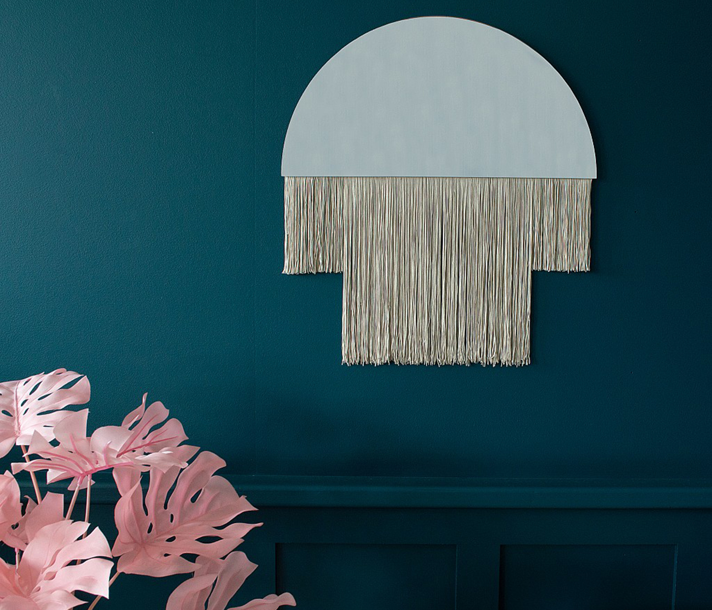 Demi-lune Mirror with Fringing, from £54 ($68), Audenza, international delivery