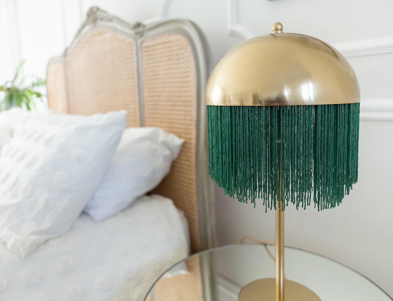 Emerald Green Fringed Table Light, £195 ($247), The French Bedroom Company, International Delivery