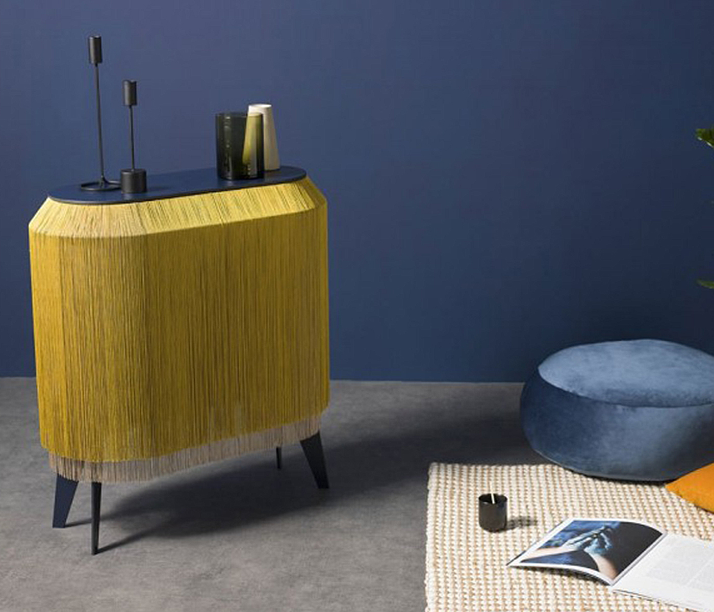 Ibride Baby Alpaga Chic Gold Fringed Side Table, £738($935), Red Candy, international delivery