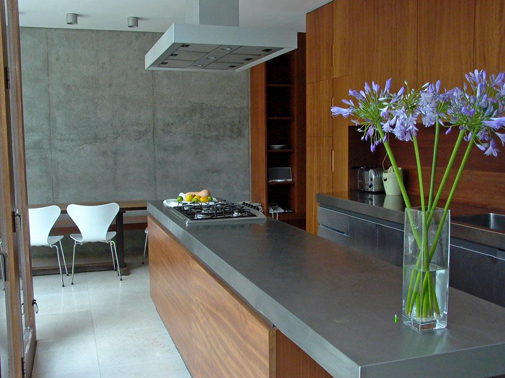 Kitchen in Geraldine Bedell's concrete house