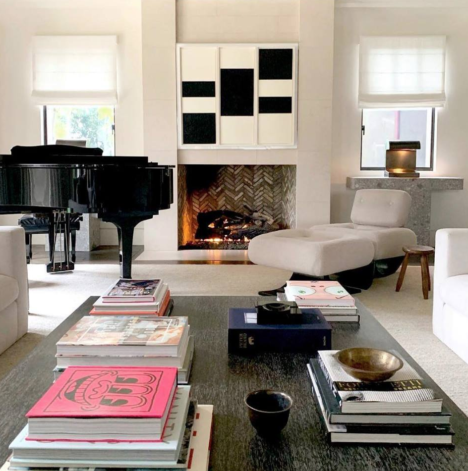 This wow-factor monochrome scheme combines neutral furnishings and natural textures. Image: @kourtneykardash/Instagram